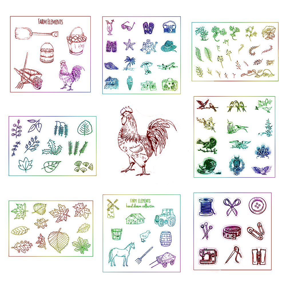 Animal Flowers Leaves Pattern Transparent Clear Rubber Stamp Silicone Scrapbooking Photo Album Decorative Stamp Sheet DIY Crafts