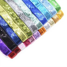 5 Yards/lot Rows Square Sequin Beading Ribbon 2.5cm DIY Lace Trims for Hand Craft Sewing Garments Headdress Wedding Decoration