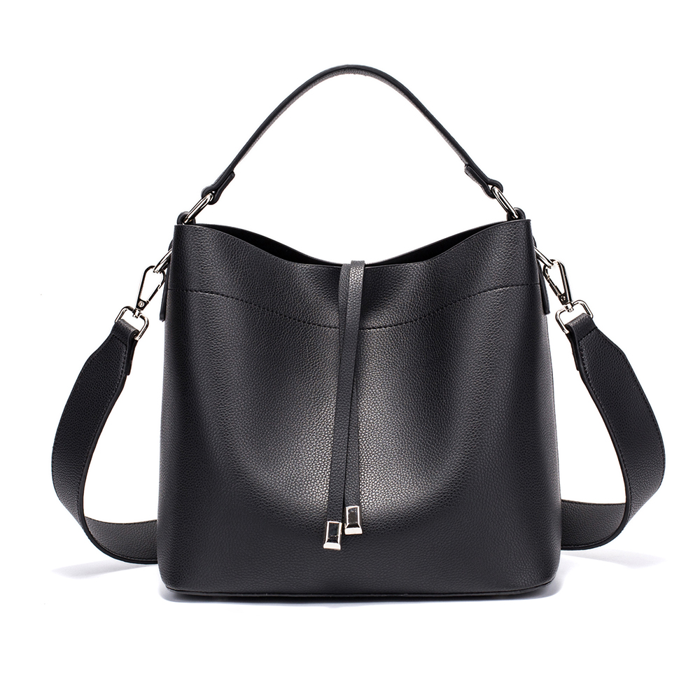 Summer women's bag bucket bag casual handbag PU leather mini tote bags female crossbody bag Black square pu tote bag