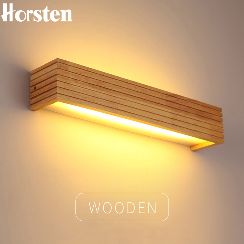 Horsten Modern Japanese Style Led Lamp Oak Wood Wall Wall Nordic Pepejal Kayu Cermin Wall Lights Sconce For Bathroom Bedroom