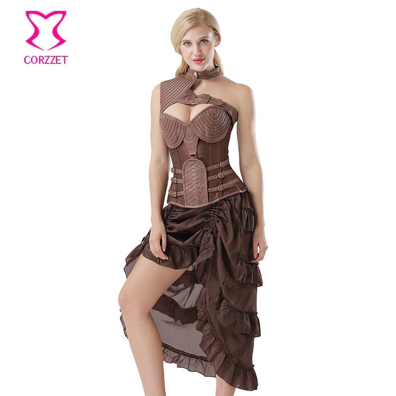Corzzet Vintage Brown Leather Armor Women Corsets Dress Vinatge