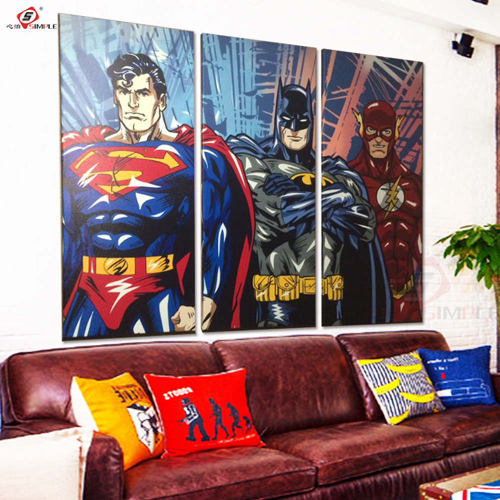 Super Hero Oil Painting Decorative Pictures Wall Art Posters and Prints Canvas Painting for Living Room Home Decor 3 Pieces