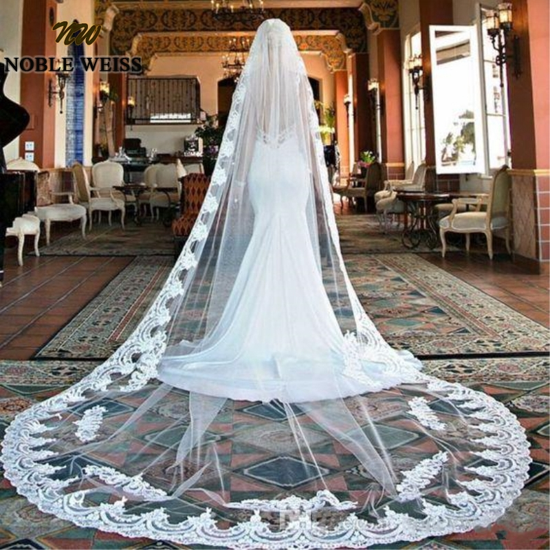 Ruthshen In Stock Real Photo Vintage Style Lace Chapel Wedding Veils Applique Edge Long One Layer Bridal Veils Custom Made  2.7m