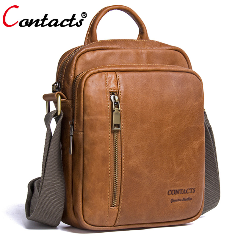 CONTACT'S Men bag Fashion Men Shoulder Bags handbag High Quality Genuine Leather Casual Messenger Bag Business Men's Travel Bags safebet brand crocodile pattern fashion men shoulder bags high quality pu leather casual messenger bag business men s travel bag