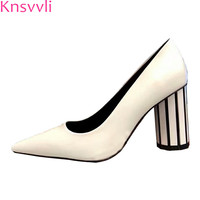 Knsvvli 2019 newest spring glass high heel pointy toe woman shoes genuine leather crystal chunky heel shoes women pumps