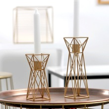 PINNY Nordic Geometric Candle Holder Iron Gold Candlesticks Home Decoration Accessories Centerpiece Wedding Decorations