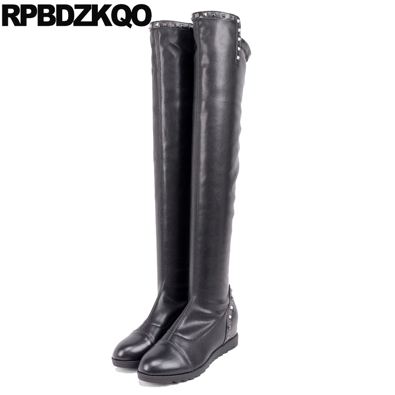 High Heel Waterproof Winter Boots Women Slim Black Height Increasing Over The Knee Rivet Long Shoes Ladies Round Toe Stud Wedge women over the knee boots black velvet long boots ladies high heel boots sexy winter shoes chunky heel thigh high boots