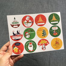 120pcs/lot New Hand Made Christmas Tree Snowman Round Self-adhesive sealing  Label Stickers Gift Bag Candy Box Decorate