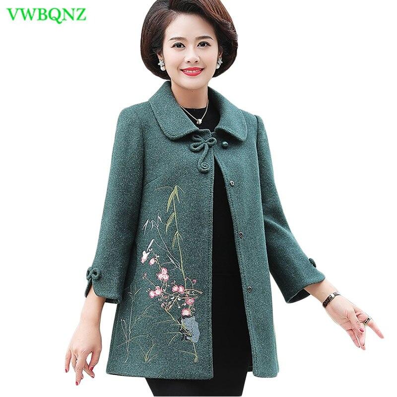 Nouveau automne hiver veste manteau femmes broderie loisirs laine manteaux grande taille femmes d'âge moyen tempérament pardessus 5XL A996
