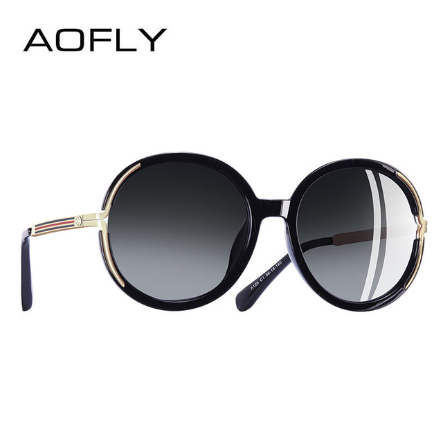 AOFLY BRAND DESIGN Vintage Oversized Sunglasses Women Metal Legs Polarized Sunglasses Round Lens Eyewear A126