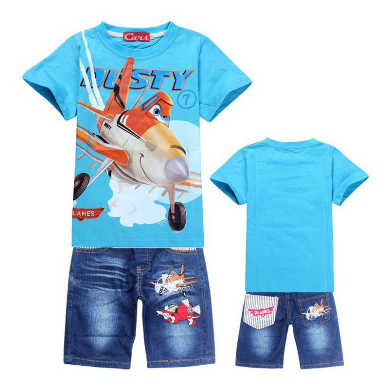 Retail New 2018 Boys Summer Clothing Sets Children Cartoon Cotton Short Sleeve T Shirt+ Jeans 2pcs Suit Kids Clothes In stock