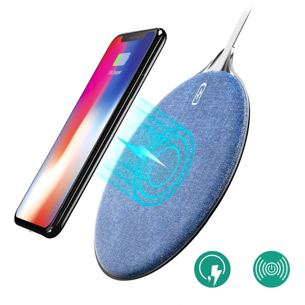 fast wireless charger wofalo 10w jean fabric qi wireless. Black Bedroom Furniture Sets. Home Design Ideas