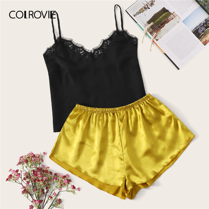 COLROVIE Lace Trim Cami And Satin Shorts Women   Pajama     Set   2019 Summer Casual Lounge Nightgowns Female Sexy Sleepwear