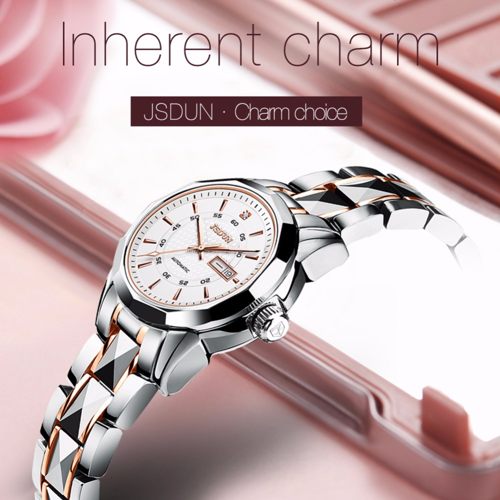 Zegarek kobiety znane marki JSDUN automatyczne ruch zegarek zegarki mechaniczne z tourbillonem kobiet mody zegarka 2018 ekskluzywny zegarek w Zegarki damskie od Zegarki na  Grupa 1