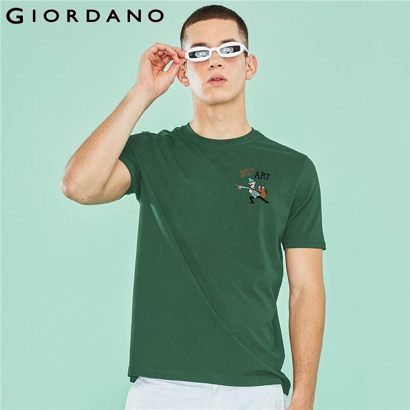 Giordano Men Obig Series Theme T-shirt Women Small Pattern Printed 100% Cotton Breathable Cool Short Sleeve Tee Shirt