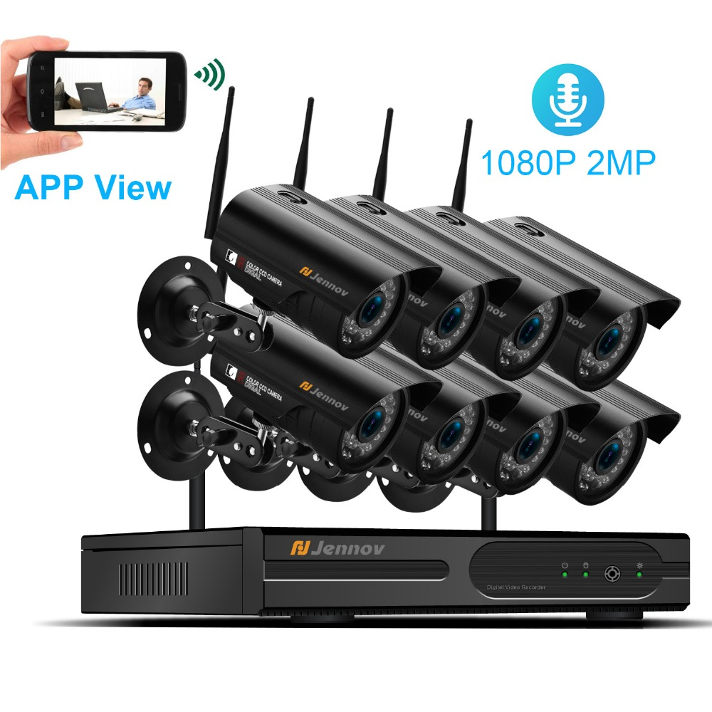 HD 8Ch 1080P 2MP IP Camera Wireless Home Security CCTV System Audio Sound Record wifi Video Surveillance Kits Set wi-fi Camara