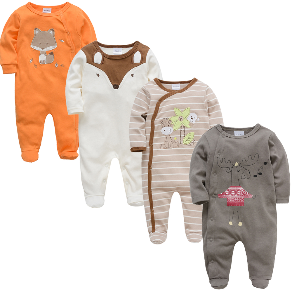 2019 3 4 pcs/lot Summer Baby Boy roupa de bebes Newborn Jumpsuit Long Sleeve Cotton Pajamas 3 6 9 12 Months   Rompers   Baby Clothes