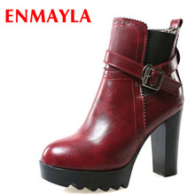 New Winter Hot sale Ankle boots High heel Platform Women snow Fashion Warm boot Buckle shoes Black Red Brown BOOTS