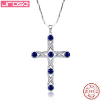 Jrose 7.2CT Created Solid 925 Sterling Silver Cross Wedding Pendant Gift with Box Fashion Jewelry Without Chain