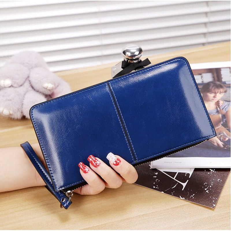 women famous brand Oil wax leather zipper clutch wallet RUO FEI female candy color burglar robbed purse lady Multi-function pho