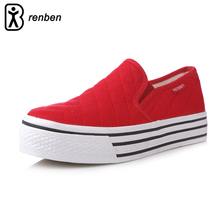 RenBen Brand Fashion Flats Casual Shoes Women Canvas Platform Loafers Comfort Woman Shoes Heels Breathable Zapatos mujer