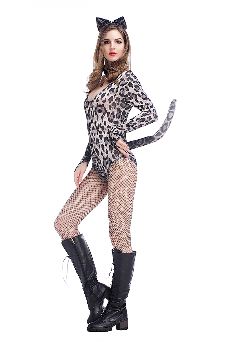 Sexy Low Cut Leopard Catwoman Erotic Zipper Costume With Ear And Tail Halloween Fancy Club Jumpsuit