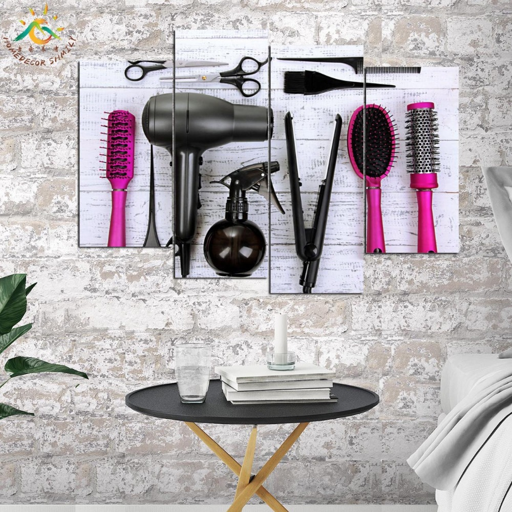 Haircut Tools Wall Art Canvas Painting Posters and Prints Decorative Picture Decoration Home For Hair Salon Decoration 4 Pieces in Painting Calligraphy from Home Garden