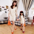 Mother Daughter Dresses Family Matching Clothes Three Quarter Sleeve White Lace Elegant Gilrs Dress Family Look Family Fitted