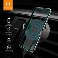 Mcdodo montagem do carro qi carregador sem fio para samsung iphone xs max x rápido carregador de carregamento rápido suporte do carro sem fio universal