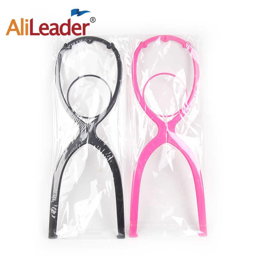 Roze Zwart 51Cm Pruik Stand Hoofd Plastic Pruik Houder Stand Draagbare Vouwen Voor Styling Drogen Display Reizen Voor Vrouwen lange Pruiken