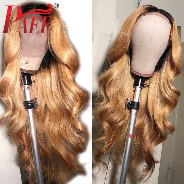 PAFF Ombre #27 Body Wave Glueless Full Lace Human Hair Wigs 130 Density Peruvian Remy Hair Pre Plucked Natural Hairline