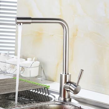 kitchen  High-quality 304 stainless steel brushed basin faucet 360 degree rotary mouth a faucet hot and cold mixer taps