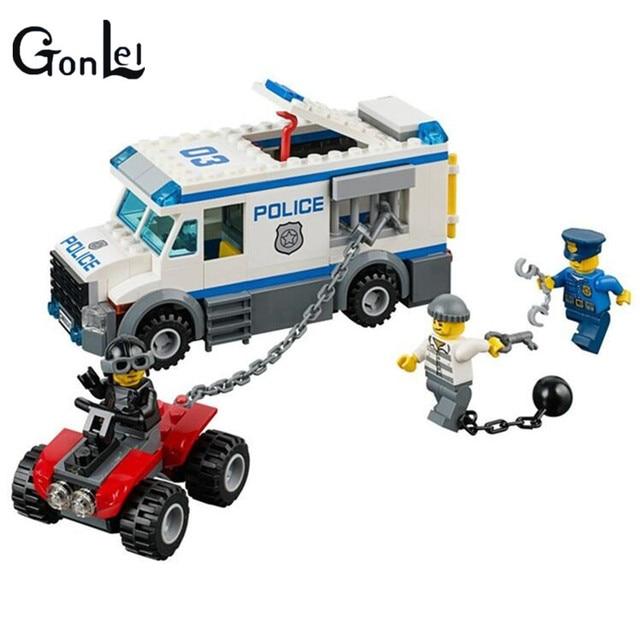 GonLeI 2016 198pcs City Police Prisoner Transporter 10418 Building Blocks Toys 60043 compatible