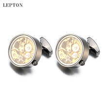 Hot Non-Functional Watch Movement Cufflinks For Mens Wedding Gold Color Immovable Steampunk Gear Watch Mechanism Cuff links