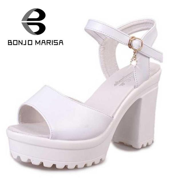Grande Venda das Mulheres Do Vintage Sólidos Peep Toe Strass Fivela No Tornozelo Tira Sapatos de Verão Senhoras De Salto Alto Grosso Sandálias Plataforma