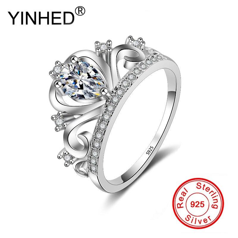 YINHED Princesse Couronne Anneaux pour les Femmes AAA Zircon Micro Pavent Engagement Anneaux De Mariage Accessoires Féminins PR057