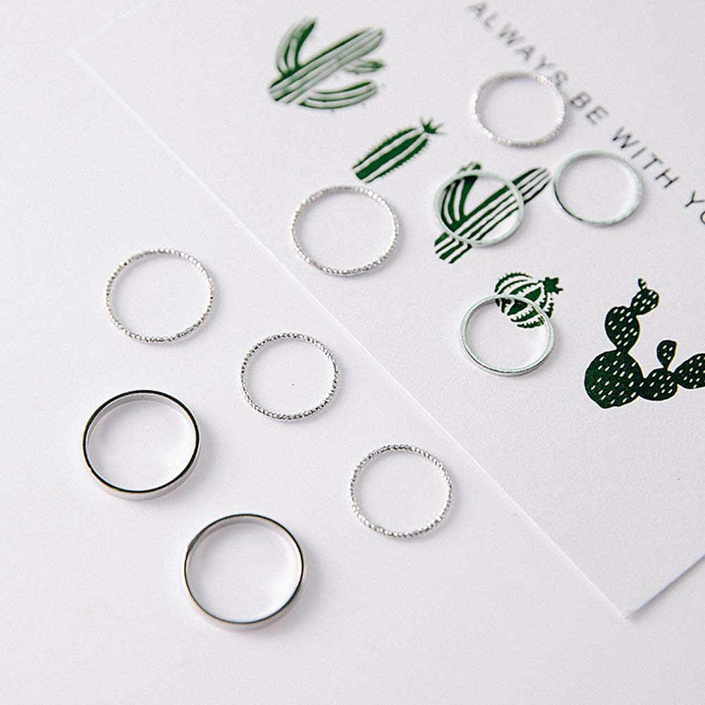 10PCS/Set Fashion Korean Simple Design Vintage Gold Silver Color Version Joint Ring Tide Combination Rings Women Jewelry