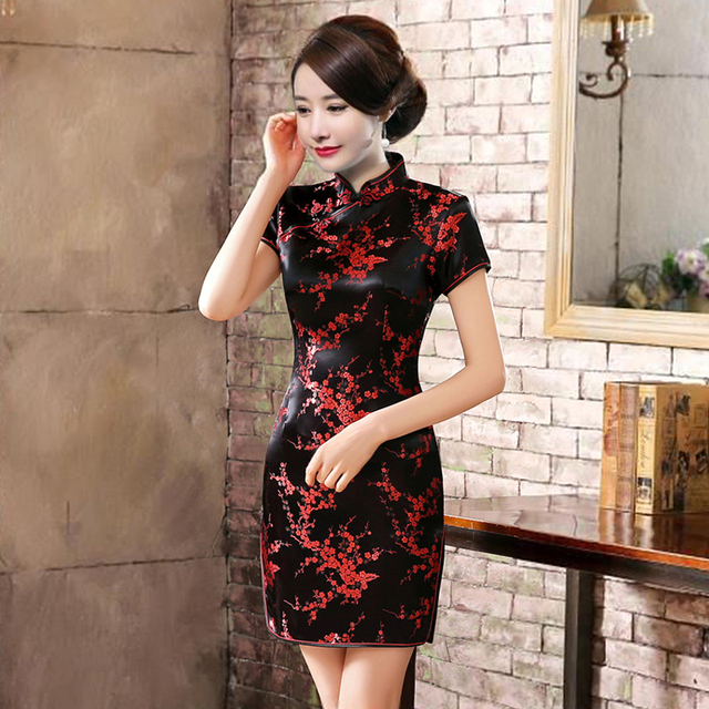Plus Size Mini Cheongsam New Arrival Vintage Chinese style Women's Satin Qipao Spring Sexy Party Dress Mujer Vestidos S-6XL
