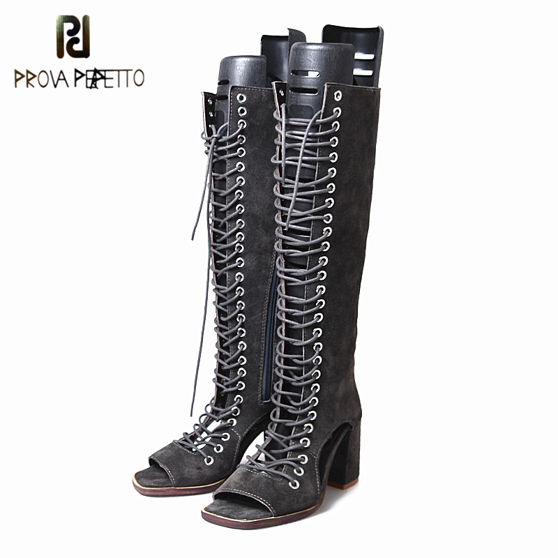 Prova Perfetto Autumn New Arrived 2018 Women Zip Knee Boots Look Thin Look Tall Hollow Out Temperament Thick Heels Boots 34-40 prova perfetto autumn new arrived 2018 women zip knee boots look thin look tall hollow out temperament thick heels boots 34 40