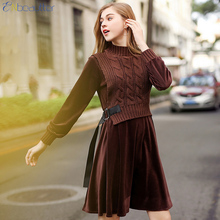 Enbeautter Для женщин вязаный жилет весеннее платье поддельные 2 шт. шить стрейч Velvet A-Line Платья для женщин с поясом Vestido де Primavera