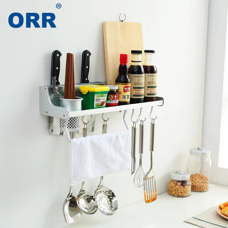 Free Shipping Kitchen Rack organizer Space Aluminum Multifuncional shelf Fastness Top Wall Mounted Bar Estante cocina ORR