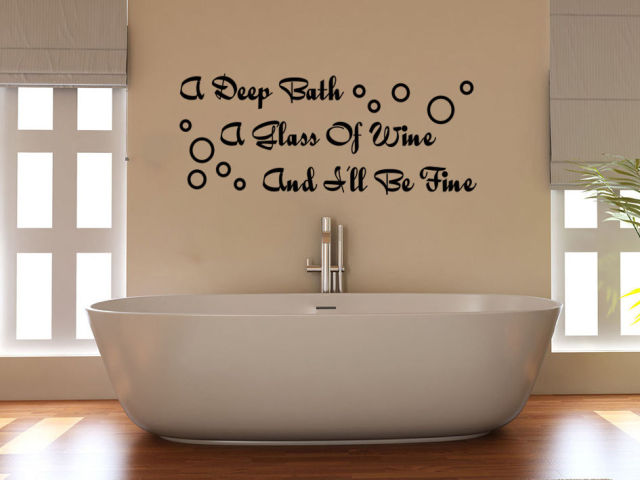 Bon HWHD OS1647 Deep Bath Glass Of Wine And Iu0027ll Be Fine Bathroom Decal Wall