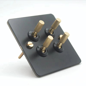 Image 4 - Black loft industrial style light luxury retro copper hand dialing metal panel 86 type lever switch surface mounted brass screw