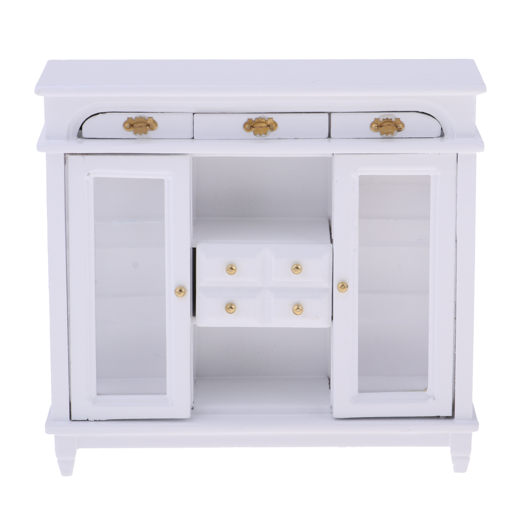 1/12scale Doll House Miniatures Furniture Set  Wooden 4 Pane Drawer Sideboard Cabinet Bookcase Pretend Play Toys