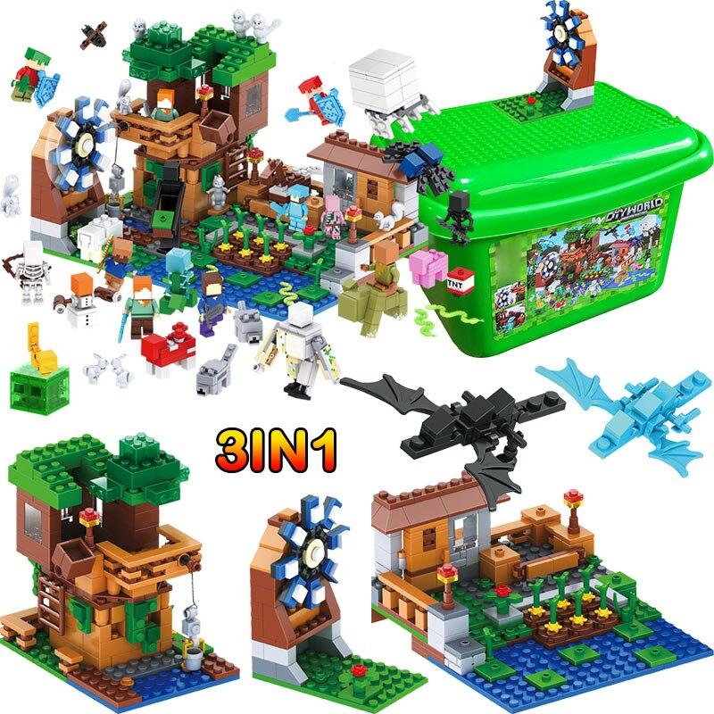 Мой Мир Роскошные Tree House Pet Деревенская ферма строительные блоки, совместимые legoINGLY Minecrafted мельница 2 дракон детские игрушки, подарки