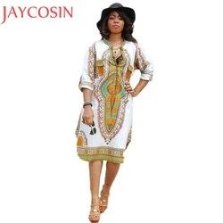Africano Roupas Novas Mulheres Moda Verão Vestido de Manga Curta Casual Profundo Decote Em V Vestidos de Festa de Impressão Tradicional Africano Nov3