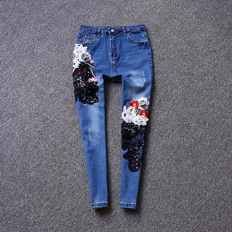 2017 autumn and winter new flowers jeans, female holes embroidery ankle-length mesh pants  sequins slim jeans