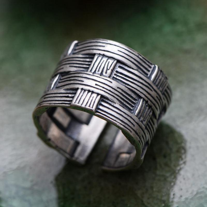 Solid 925 Sterling Silver Braided Rings For Men And Women Simple Vintage Style Resizable Biker Rings цена