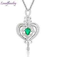 New Beautiful Pear 7x9mm Solid 18Kt White Gold Diamond Emerald Wedding Pendant WP068