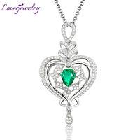 New Beautiful Pear 7x9mm Solid 18Kt White Gold Diamond Emerald Wedding Pendant WP068